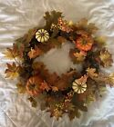 Halloween Fall Door Wreath Autumn Pumpkin Maple Leaf Acorns Berries Home Decor