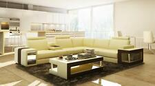 Italy Design Bonded Leather Beige & Brown Sectional Sofa with Coffee Table