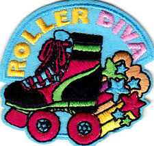 """ROLLER DIVA""  PATCH - Iron On Embroidered Patch - Skates, Sports, Words"