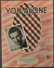 1953 YOU ALONE Stillman & Allan PAUL RICH London Ed Sheet Music Italian English