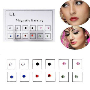12pcs Steel Magnetic Crystal Fake Ear Stud Nose Ring 3mm Non-Piercing Lip Clip