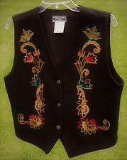 Vintage Black Wool Erika Classics Ladies Vest Bright Floral Embroidery Tie Back