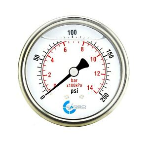 "2.5"" LIQUID FILLED PRESSURE GAUGE 0 - 200 PSI, STAINLESS STEEL CASE BACK  MOUNT"