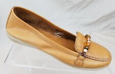 THE FLEXX Women's Loafers Tan Leather Beaded Comfort Flat Shoes Size 6.5