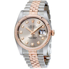 Rolex Datejust 36 Rhodium Diamond Dial Steel And 18k Everose Gold Mens Watch