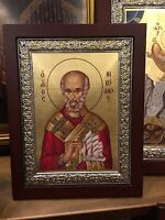 Saint Nicolaos  - handmade Greek orthodox Russian byzantine Icon