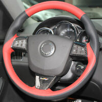 Black RedLeather Hand-stitched Car Steering Wheel Cover for Cadillac ATS CTS