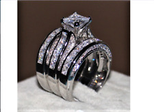 3-in-1 Ring Set Princess cut 10ct Cz ring 14KT White Gold Filled  -#W4-7