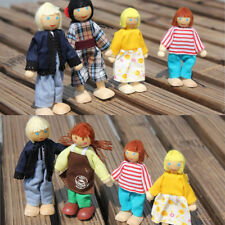 Cute A Family of 4 People Wooden Toy Puzzle Baby Doll Parent-child Joint Toy