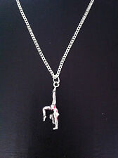 "GYMNASTIC CHARM NECKLACE 18"" SILVER CHAIN IN GIFT BAG"