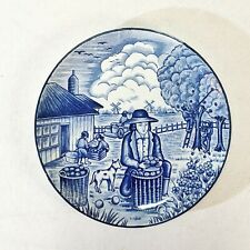 Vintage Dutch Scene Wall Hanging Decorative Plate Blue White Apple Harvest