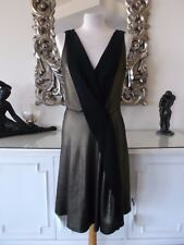 TEMPERLEY LONDON Designer Old Gold Black EDOM LAME V Neck Cocktail Dress 14 BNWT
