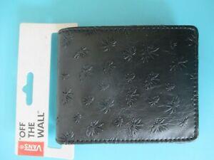 NEW* VANS PEACE LEAF WALLET ID BIFOLD $30 Retail SLIM FAUX LEATHER BLACK
