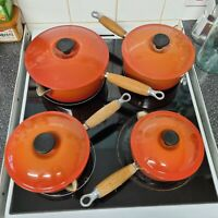 Le Creuset Cast Iron Saucepans Set Of 4 (16,18,20,22) Vocanic Orange