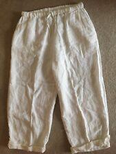 FLAX White 100% Linen Wide Leg Elastic Waist Lagenlook Comfort Pants Women L EUC