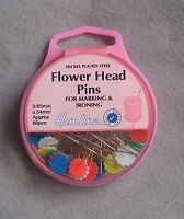 Hemline Flower Head Pins .65mm shaft and 54mm long in a 60 pack