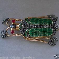 Artdeco Estate 2.93cts Rose Cut Diamond Jewelry Ruby Enamel Silver Beetle Brooch
