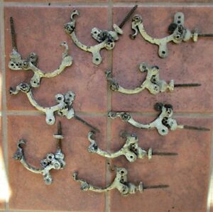 9 Antique HOUSE GUTTER HOLDERS,Iron,Adjustable,C.1880, Restoration Salvage