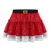 Christmas Women Adult Kids A-line Pleated Skirt Mini Tutu Dance Dress Up Costume