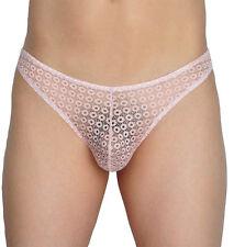 Pink Men's Lace Bikini Briefs Hollow Briefs Underwear Pouch Mini Thong Trunks XL