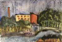 Aquarell Expressiv Stadtansicht Industrie Schornstein Italien um 1970 16,5 x 24