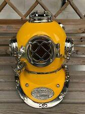 Boston Silver Maritime Morse Diving Helmet Yellow Scuba Divers Navy Mark Divers