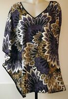 Bisou Bisou Purple Floral Poly Crepe One Sleeve Tunic Kimono Top Blouse Shirt L