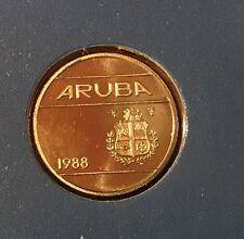 1988 ARUBA 10 CENT  KM# 2 CUT FROM FDC MINT SET  SUPER GEM   #1988AR