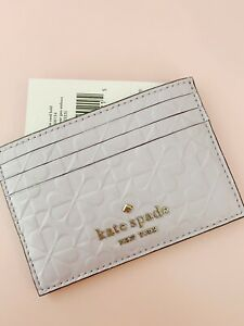 New Kate Spade Valentine clover embossed small Lilac slim card holder Purple