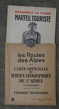 CARTE LA ROUTE DES ALPES / DUNLOP HUILES JUPITER MOTO CYCLES FAVOR automobilia