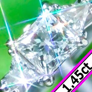 Diamond Ring 14K GOLD 1.45ct Solitaire Princess DIAMOND Engagement Ring Vintage