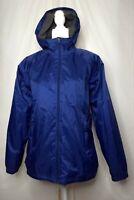 Women's LL Bean Discovery Rain Jacket Blue Misses Medium Reg Lined Zip Front