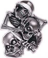 See No, Hear No, Speak No Evil Skull Tattoo Vinyl Sticker Decal 5 inch