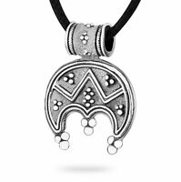 Womens Celtic Moon Amulet LUNULA Pendant Necklace HANDMADE SILVER Pagan Jewelry