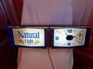 """VINTAGE """"NATURAL LIGHT"""" ELECTRIC CLOCK BEER SIGN"""