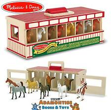 Melissa Doug Fold & Go Take Along Wooden Show Horse Stable Barn Early Learning