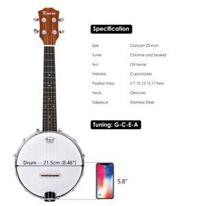 Kmise Banjolele Banjo Ukulele 23 inch Concert Size 8 inch Drumhead Aquila String