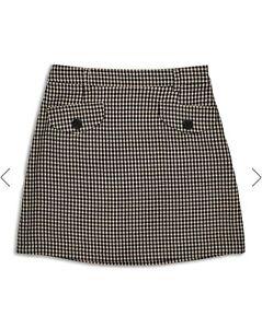 Miss Selfridge Check Pocket Button Front Mini Skirt Uk 14 Rrp £30.00