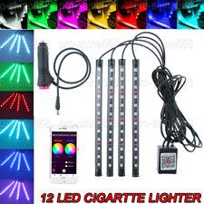 """Bluetooth RGB APP Control LED Interior Car Under Dash Footwell 9"""" Strip Lighting"""