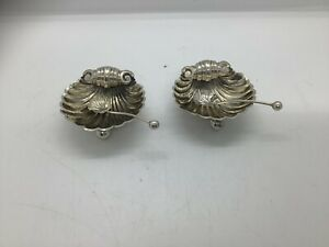 Two Antique Sterling Silver Birmingham 1894 Scallop Shell Salts & Spoons