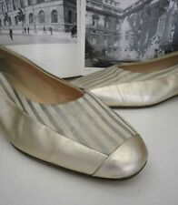 Ballerina PIÙ Forte made italy TRUE VINTAGE Slipper Pumps gold silber metallic