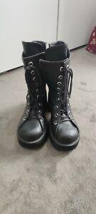 Demonia Ranger PU leather black boots size 8