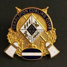New listing VINTAGE CURLING PIN GERALDTON CURLING CLUB (Birks missing screw on back)