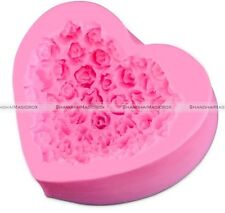 3D Rose Bouquet Heart Shape Silicone Fondant Mold Cake Decoration Soap Mold Tool