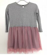 Tea Collection Girls size 5 Gray Long sleeve Dress Ballarina Pink Skirt