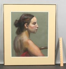 Original Signed WILEY Profile Portrait Nude Woman Pastel Drawing, No Reserve!