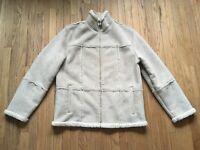 DKNY Jeans Beige Faux Leather Jacket Women's Large White Faux Fur Lining