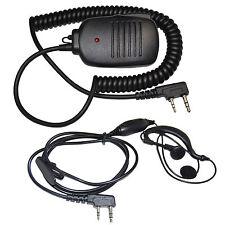 2-Pin PTT Speaker-Mic + Headset for Kenwood TK-2202 TK-2207 TK-2400V4P TK-2402VK