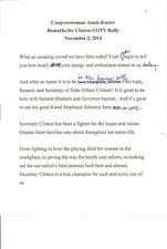 Rare (2014/11) Draft Speech: Congresswoman Annie Kuster (Clinton GOTV Rally NH)