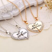 NEW Best Friends Heart Crystal BFF Silver Pendant Necklace Chain Charm Jewelry